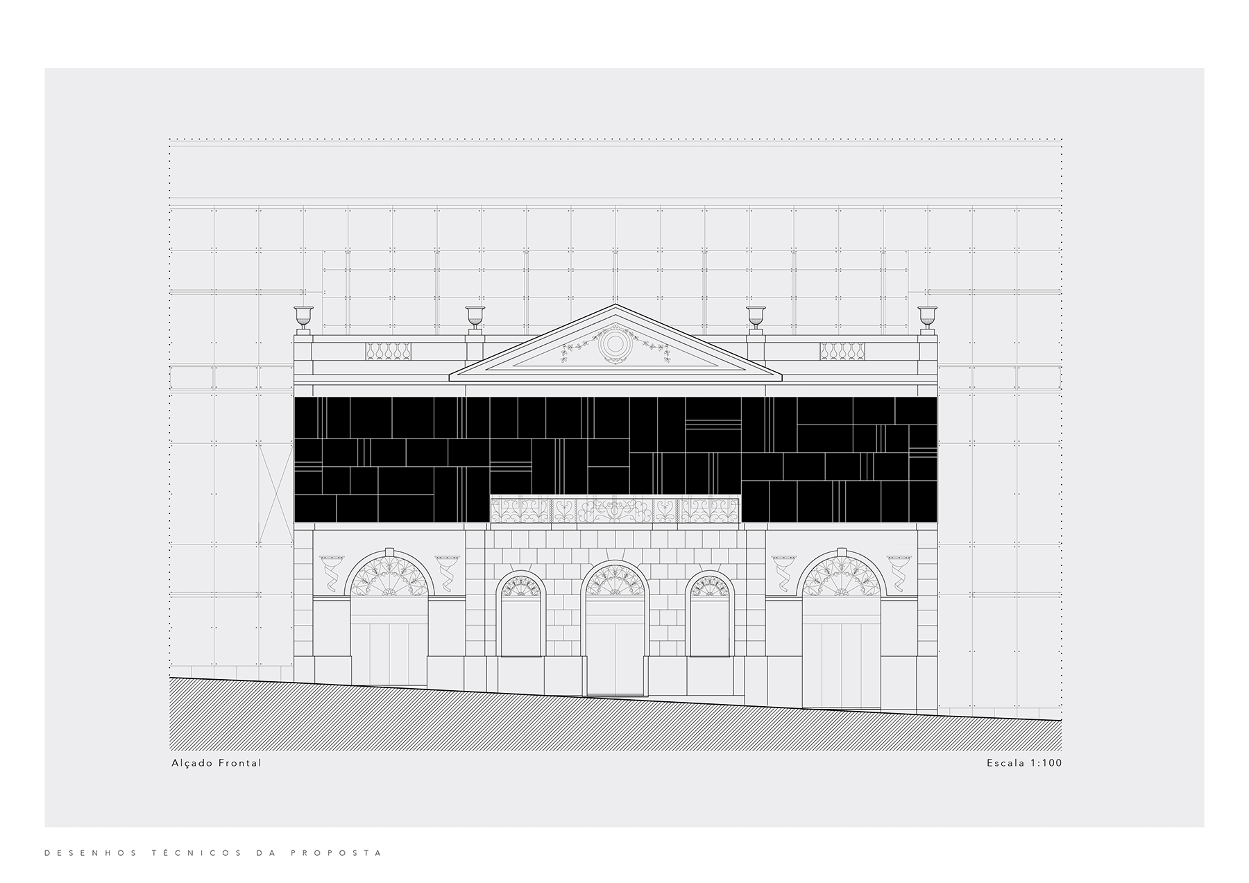Front elevation of the shopping mall with the proposed