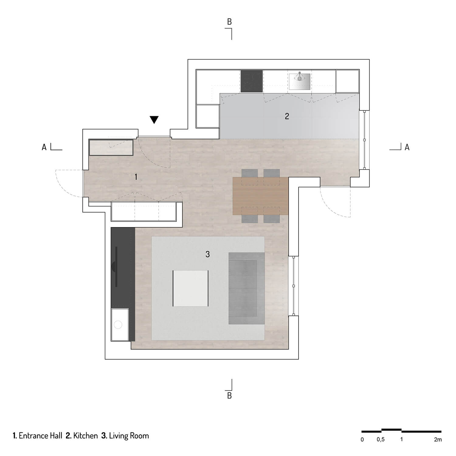 """The plan of the apartment after the project design shows how the space was opened and became an """"open-space"""" where the various parts work as a whole."""